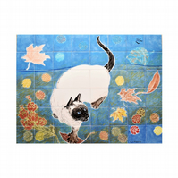 "Hand painted splashback, "" The Siamese Cat "", 48 piece ceramic tile mural"