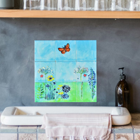 Splashback, Hand painted tiles, Butterfly with Meadow flowers mural