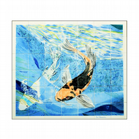 Hand painted glazed tile splashback, Koi carp, 42 piece tile mural