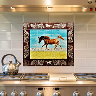 Hand Glazed Decorative Tile Painting with Arabian Horse