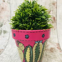 Terracotta Flower Pot Hand Painted With My Own Design 13cm