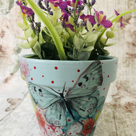 Hand Painted And Decoupaged Terracotta Flower Pot, Planter, Butterfly.