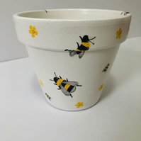 Hand Painted And Decoupaged Bumblebee Flower Pot.