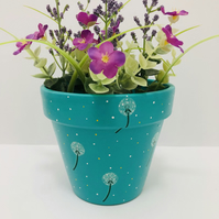 Hand Painted And Decoupaged Funky Flower Pot For Your Home or Garden
