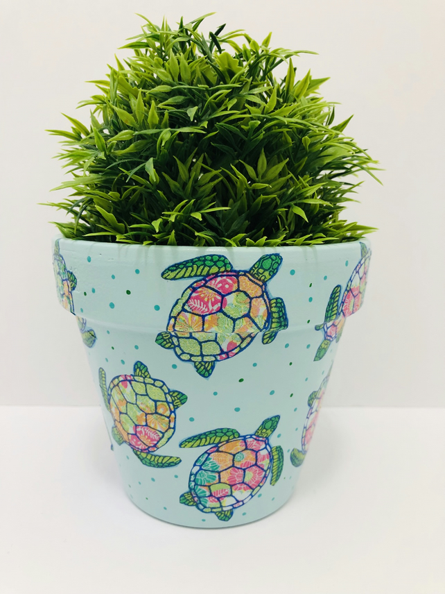 Hand Painted And Decoupaged Terracotta Flower Pot, Colourful Turtles, Light Blue