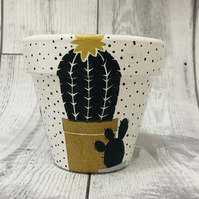Hand Painted And Decoupaged Terracotta Flower Pot, Funky Planter, Cactus
