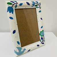 Hand Painted And Decoupaged White Photo Frame, Flower And Dove Design