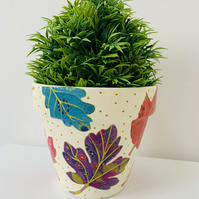 Hand Painted And Decoupaged Terracotta Flower Pot, Funky Planter.