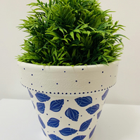 Hand Painted And Decoupaged Terracotta Flower Pot, Blue Seashells.