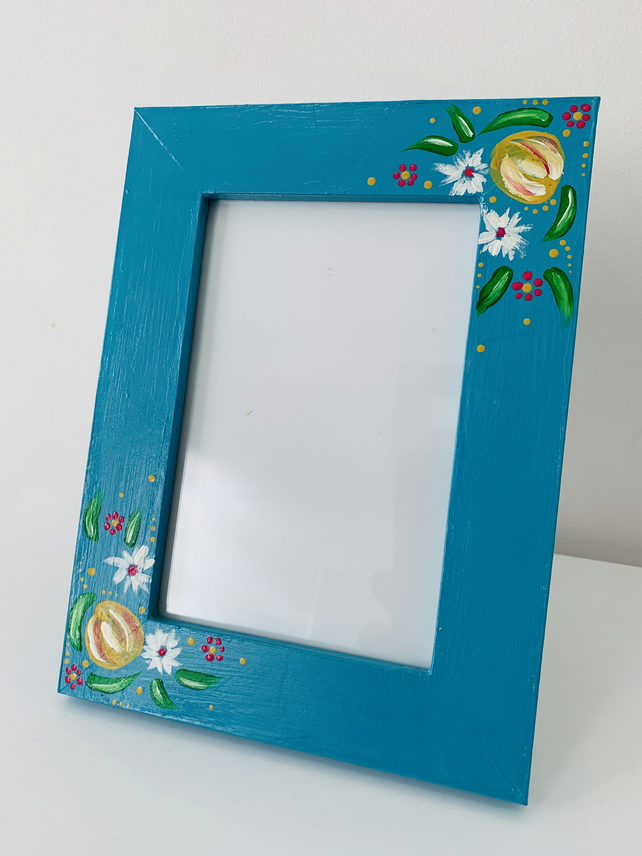 Brand New Wooden Photo Frame, Neptune Blue, Hand Painted Flower Design