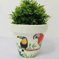 Hand Painted And Decoupage Terracotta Flower Pot Colourful Parrots And Love Bird