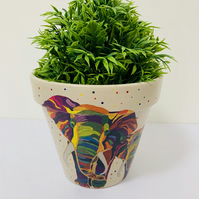 Hand Painted & Decoupaged Terracotta Flower Pot With Vibrant Elephant Design