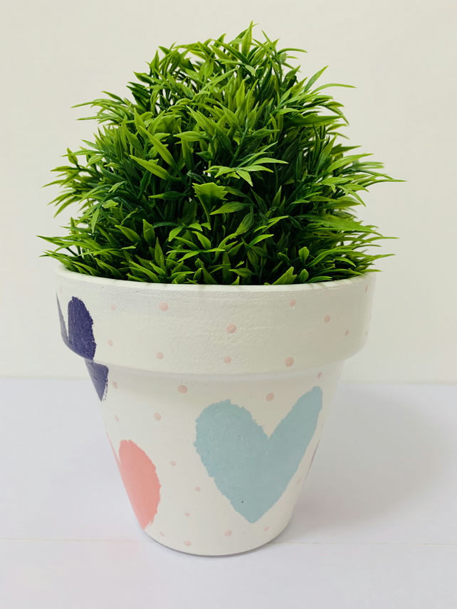 Decoupaged Terracotta Planter, Multicoloured Hearts Design, Home Decor.
