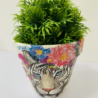 Decoupage Terracotta Planter, White Tiger With Brightly Coloured Flowers.