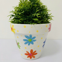 Decoupaged Terracotta Planter, Brightly Coloured Flowers Design.