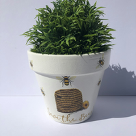 Decoupaged Terracotta Flower Pot, Save The Bee Design, Home Design, Gift Ideas.