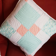 Quilted Cushion in Teal, Peach and White