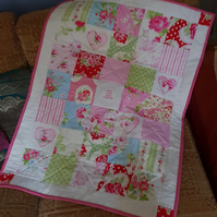 Pink Cot Quilt with personalised central panel
