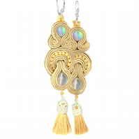Long Soutache Beige Earrings with Fringe