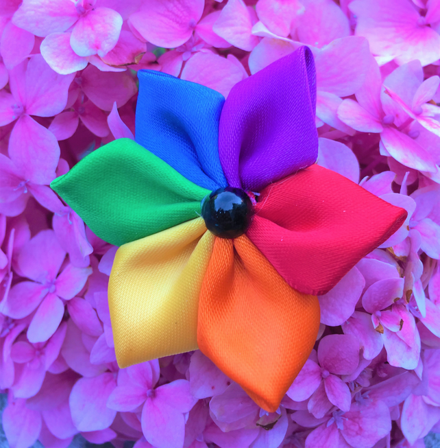 Handcrafted Satin Ribbon LGBT Rainbow Pin Bagde