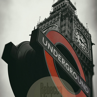 Iconic London, Big Ben, Black & White with Red. Wall Art, Home Decor