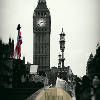 Iconic London, Big Ben In the Rain, Black & White with Red. Wall Art, Home Decor