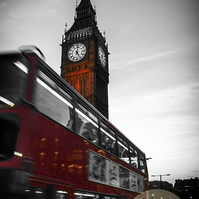 Iconic London, London Bus, Big Ben, Black & White with Red. Wall Art, Home Decor
