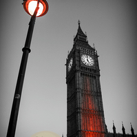Iconic London, Big Ben & Lamp, Black & White with Red. Wall Art, Home Decorc
