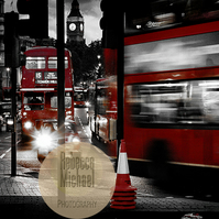 Iconic London, London Buses x 2, Black & White with Red. Wall Art, Home Decor