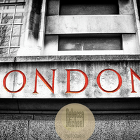 Iconic London, London Graphic, Black & White with Red. Wall Art, Home Decor