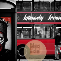 iconic London, Irresistible, Black & White with Red. Wall Art, Home Decor