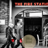 Iconic London, Fire Station, Black & White with Red. Wall Art, Home Decor