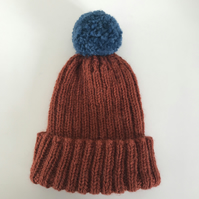 Hand Knitted Hat With Funky Contrast Bobble