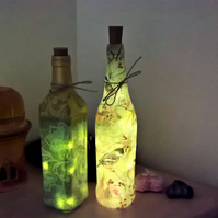 bottle lights, hand decorated, recycled