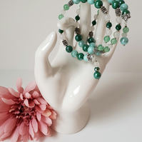 Wrap Bracelet: Green Adventurine, White Quarts and Crystals