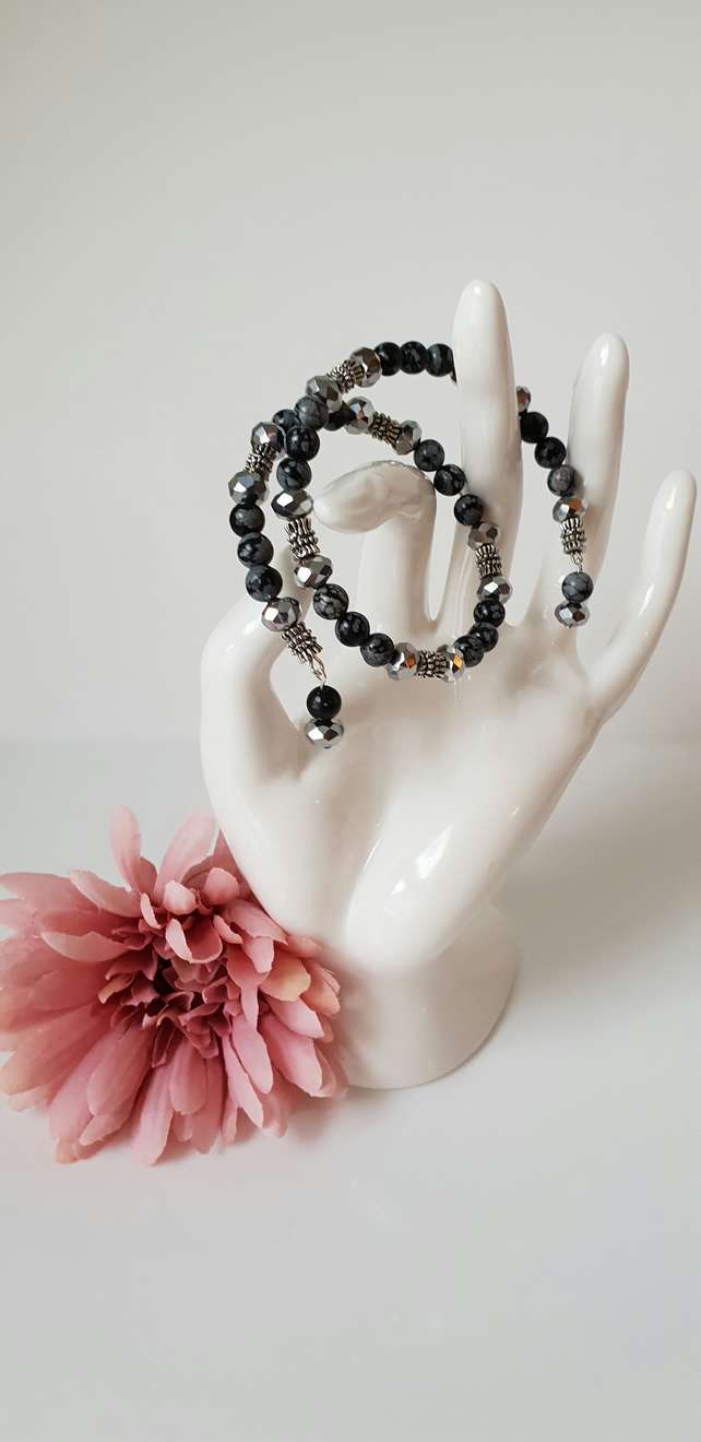 Wrap Bracelet: Snowflake Obsidian and Crystal