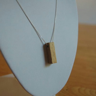 Oak Wood Necklace on Silver Chain