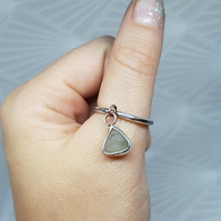 Beautiful Seaglass ring, sterling silve ring, size P, gift for her, summer ring