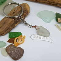 Seaglass hand stamped aluminium heart, dream keychain, sea glass keyring,