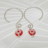 Red Murano glass earrings, sterling silver earrings, mothers day, valentines