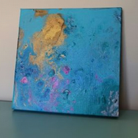 Fluid Art Canvas Pink, Gold and Turquoise Blue