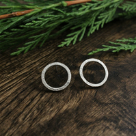 'Granite' circle sterling silver earrings