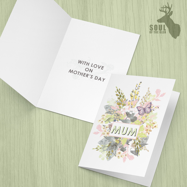 Mother's Day Card - Louise Tiler - Pink & Green Flower Bouquet