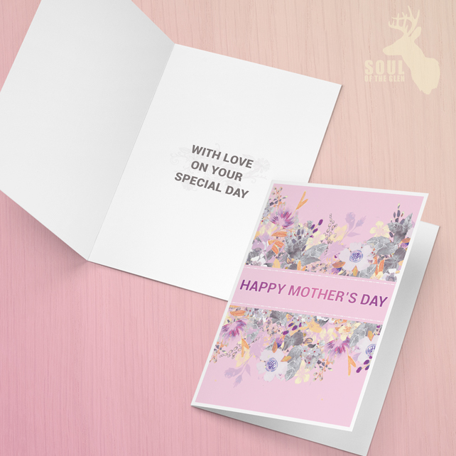 Mother's Day Card - Louise Tiler - Pink & Purple Flower Bouquet