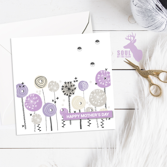 Mother's Day Card - Dandelion Clocks - Lilacs - Happy Mother's Day