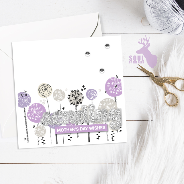 Mother's Day Card - Dandelion Clocks - Lilacs - Sending Mother's Day Wishes