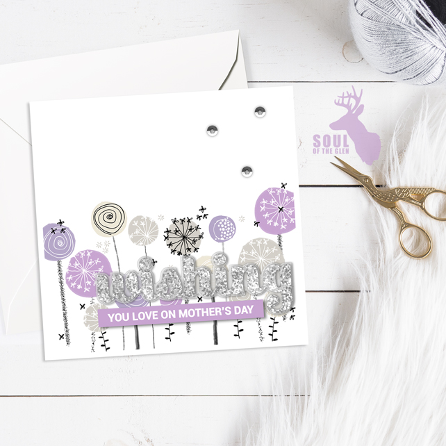 Mother's Day Card - Dandelion Clocks - Lilacs - Wishing You Love On Mother's Day