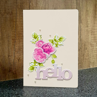 "Pink Vintage Roses ""Hello"" Card"