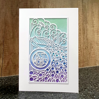 "Art Deco Style Peacock ""Best Wishes"" Birthday Card"