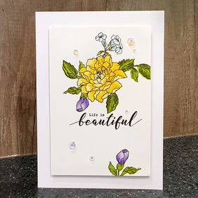 "Yellow & Purple Floral ""Life is Beautiful"" Any Occasion Card"